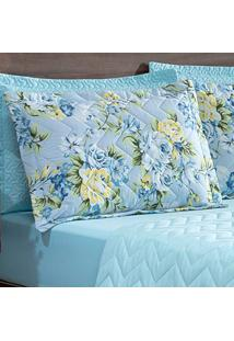 Kit 4 Porta Travesseiros Matelasse 260 Fios Zig Zag Floral Azul