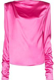 Gauge81 Blusa Drapeada Com Decote Canoa - Rosa