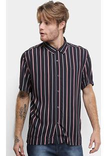 Camisa Manga Curta Ellus Reflected Stripes Hawaii Americana Masculina - Masculino-Preto
