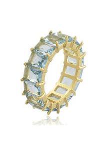 Anel Viva Jolie Aquamarine Fusion Riviera Retângulos Banho Em Ouro