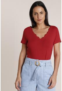 Blusa Feminina Básica Com Renda Manga Curta Decote V Vermelha