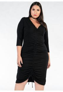 Vestido Plus Size Preto Com Regulagem