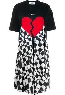 Msgm Vestido Com Estampa De Coração Partido - Preto