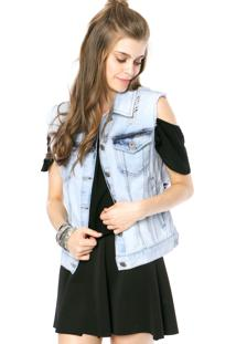 Colete Jeans Colcci Comfort Azul