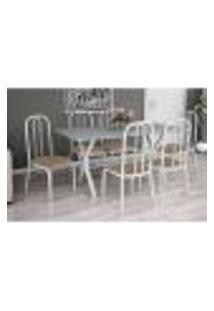 Conjunto De Mesa Miame 150 Cm Com 6 Cadeiras Madri Branco E Nature Bege