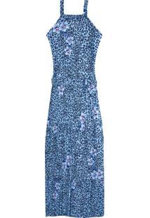 Vestido Azul Mídi Folhagens Em Crepe