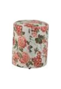 Puff Redondo Round Jacguard Floral Rosa