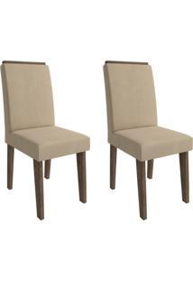 Conjunto Com 2 Cadeiras De Jantar Milena Suede Marrocos E Caramelo