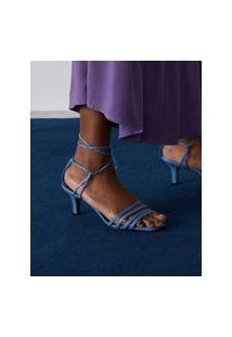 Amaro Feminino Sandália Multi Tiras Amarração Tornozelo, Azul