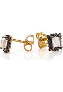 Brinco De Ouro Joiasgold 18K Quartzo Rosa Com Espinelio - Feminino-Dourado