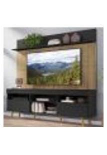 """Rack Com Painel Tv 65"""" Madri Multimóveis Preto/Rustic Com Prateleira E Pés Retrô Natural"""