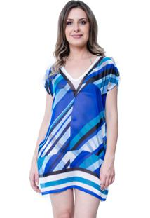 Blusa Estampada 101 Resort Wear Tunica Decote V Fendas Geométrica Azul