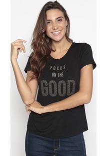 """Blusa """"Focus On The Good""""- Preta- Cavallaricavalari"""
