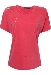 Blusa Bobô Destroyed Malha Algodão Vermelho Feminina (Tomate, Gg)