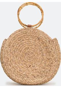 Bolsa De Palha Com Alça De Bambu