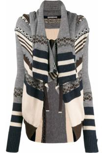 High By Claire Campbell Cardigan Com Padronagem - Cinza