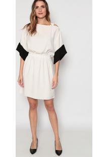 Vestido Com Recorte Vazado - Off White & Lilásdudalina