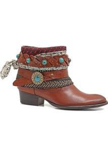 Bota Boho Couro Charlotte Look Sioux Feminina - Feminino-Marrom