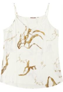 Blusa Estampada Com Alça Fina Branco