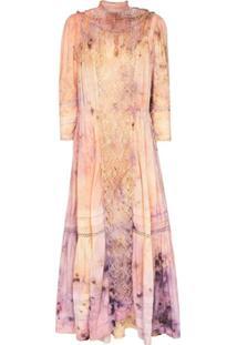 Mimi Prober Vestido Midi Victoria Tie-Dye - Rosa