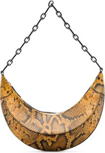 Rejina Pyo Curved Snake Print Shoulder Bag - Marrom
