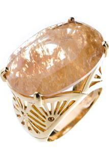 Anel Obietto Ouro Pedra Oval Rutilada
