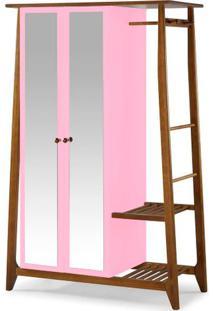 Armario Multiuso Stoka 2 Portas Rosa Estrutura Amendoa 169Cm - 60977 - Sun House