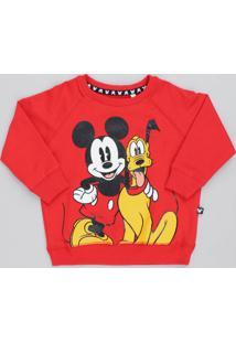Blusão Infantil Mickey E Pluto Em Moletom Manga Longa Vermelha