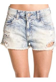 Shorts Jeans Destonado Destroyed Desfiado Colcci - Feminino-Azul