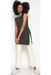 Blusa Alongada Com Fenda-Verde Escuroosklen
