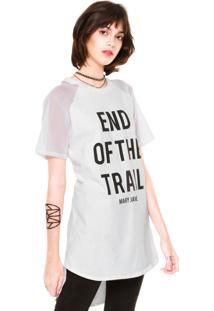 Camiseta Mary Jane Raglan Manga Com Tela Branca