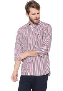Camisa Tommy Hilfiger Regular Fit Listrada Vermelha/Cinza