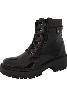 Bota Navit Shoes Tratorada Com ZãPer Verniz Preto - Preto - Feminino - Dafiti
