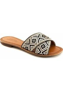 Rasteira Tiras Cruzadas Numeração Especial Sapato Show 395E - Feminino-Preto+Nude