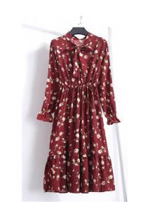 Vestido Madrid Vintage Florido - Vermelho Vinho