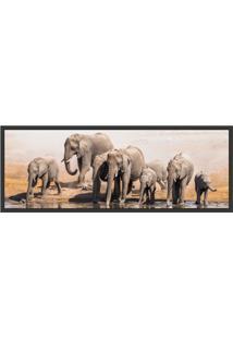 Quadro Decorativo Com Moldura Elefante Preto