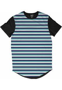 Camiseta Longline Long Beach Náutica Listras Sublimada Azul Marinho