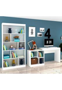 Escrivaninha E Estante Com 6 Prateleiras Para Escritório-Ho-2965-Hecol - Branco
