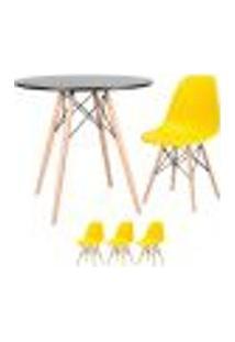 Conjunto De Mesa Eames 80 Cm Preto + 3 Cadeiras Eames Eiffel Dsw Amarelo