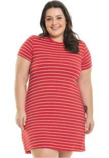 Vestido Malha De Viscose Listrado Miss Masy Plus Size Feminino - Feminino-Vermelho