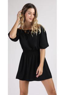 Vestido Feminino Curto Ombro A Ombro Manga Curta Preto