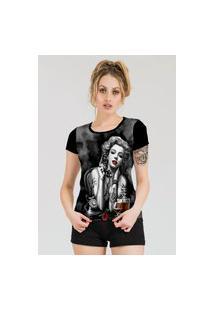 Camiseta Stompy Estampada Feminina Modelo 9 Preta
