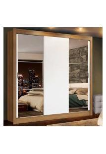 Guarda-Roupa Casal Madesa Lyon Plus 3 Portas De Correr Com Espelhos 4 Gavetas Rustic