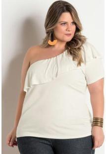 608c3d122 ... Blusa Plus Size Off White De Um Ombro Só
