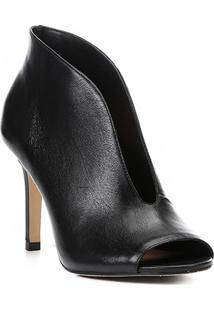 Sandália Couro Shoestock Vamp Salto Fino Feminina - Feminino-Preto