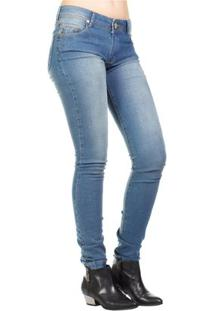 Calça Jeans Destonada Dirty Reta Slim Feminina - Feminino-Azul