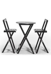 Conjunto Dobravel Bistrô Com 2 Cadeiras Tabaco - Btb Móveis