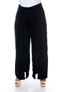 Calça Cosma Plus Size Pantalona Com Fenda Preto