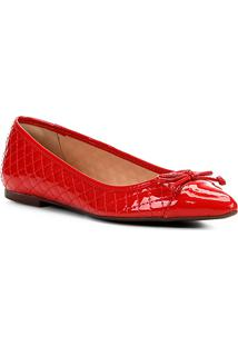Sapatilha Shoestock Matelassê Bico Fino Laço Feminina - Feminino-Vermelho