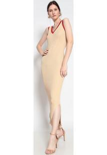 Vestido Longo Texturizado Com Fios Metalizados- Dourado Le Fix
